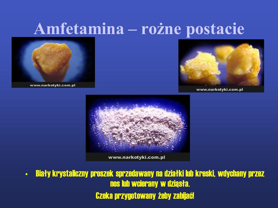 Amfetamina – rożne postacie Biały krystaliczny proszek sprzedawany na działki lub kreski, wdychany przez nos lub wcierany w dziąsła. Czeka przygotowan