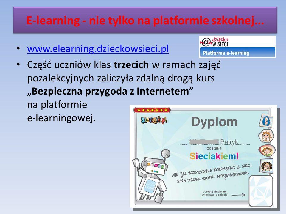 www.elearning.dzieckowsieci.pl Część uczniów klas trzecich w ramach zajęć pozalekcyjnych zaliczyła zdalną drogą kursBezpieczna przygoda z Internetem na platformie e-learningowej.