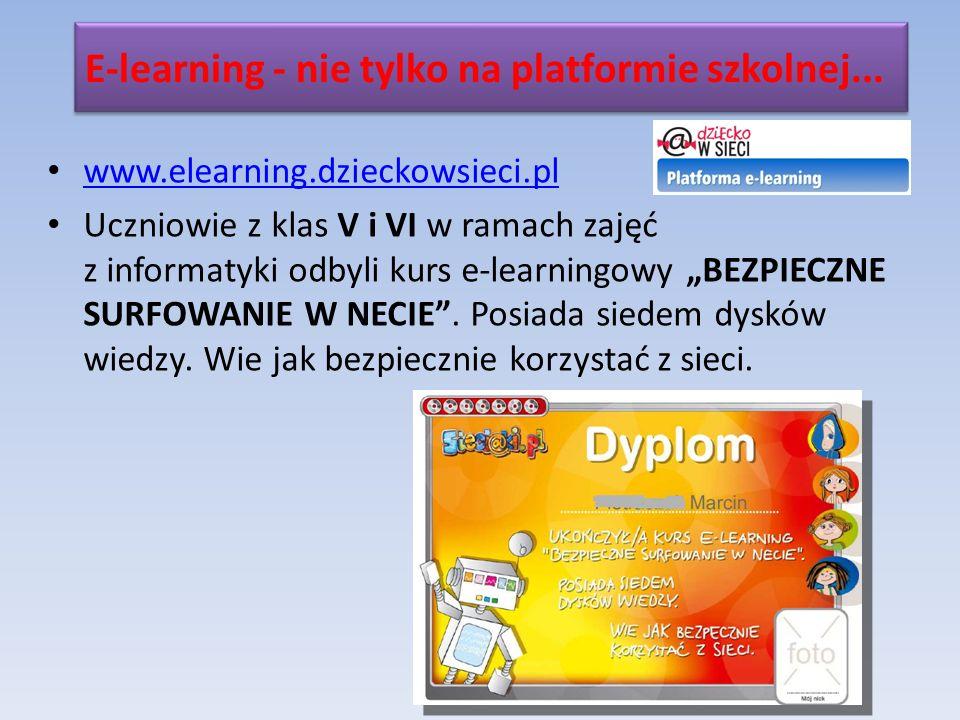 www.elearning.dzieckowsieci.pl Uczniowie z klas V i VI w ramach zajęć z informatyki odbyli kurs e-learningowy BEZPIECZNE SURFOWANIE W NECIE.