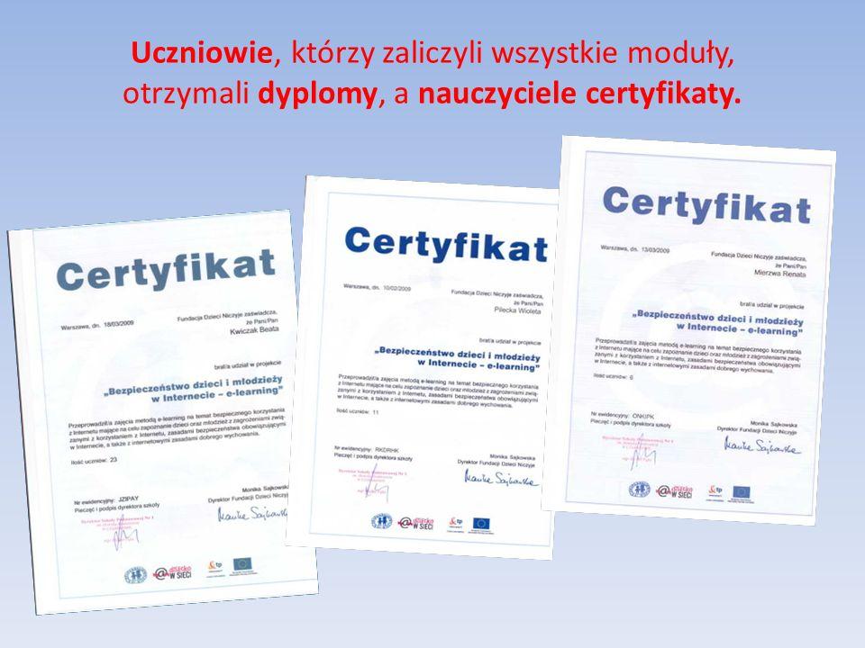 Przykładowe dyplomy kursu e-learningowego
