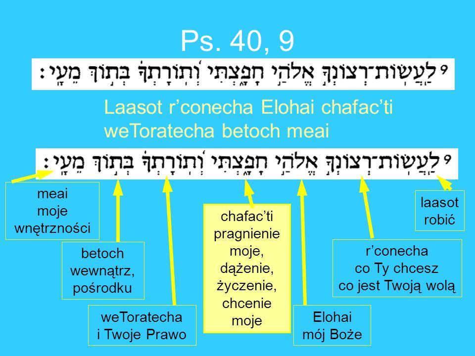 Ps. 40, 9 Laasot rconecha Elohai chafacti weToratecha betoch meai laasot robić rconecha co Ty chcesz co jest Twoją wolą Elohai mój Boże chafacti pragn