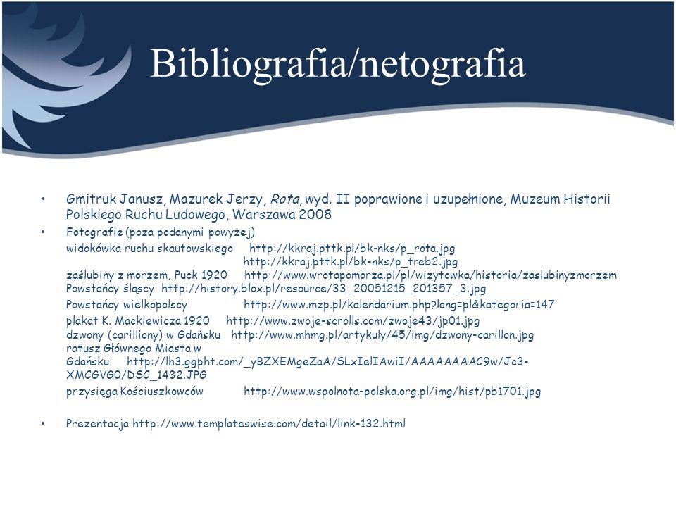 Bibliografia/netografia Title Gmitruk Janusz, Mazurek Jerzy, Rota, wyd. II poprawione i uzupełnione, Muzeum Historii Polskiego Ruchu Ludowego, Warszaw