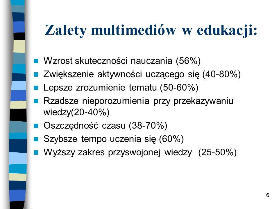 6 Zalety multimediów w edukacji: Wzrost skuteczności nauczania (56%) Zwiększenie aktywności uczącego się (40-80%) Lepsze zrozumienie tematu (50-60%) Rzadsze nieporozumienia przy przekazywaniu wiedzy(20-40%) Oszczędność czasu (38-70%) Szybsze tempo uczenia się (60%) Wyższy zakres przyswojonej wiedzy (25-50%)