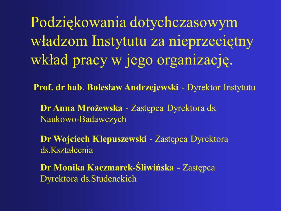 Podziękowania dotychczasowym władzom Instytutu za nieprzeciętny wkład pracy w jego organizację. Prof. dr hab. Bolesław Andrzejewski - Dyrektor Instytu