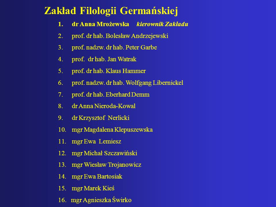 Zakład Filologii Germańskiej 1.dr Anna Mrożewska kierownik Zakładu 2.prof. dr hab. Bolesław Andrzejewski 3.prof. nadzw. dr hab. Peter Garbe 4.prof. dr