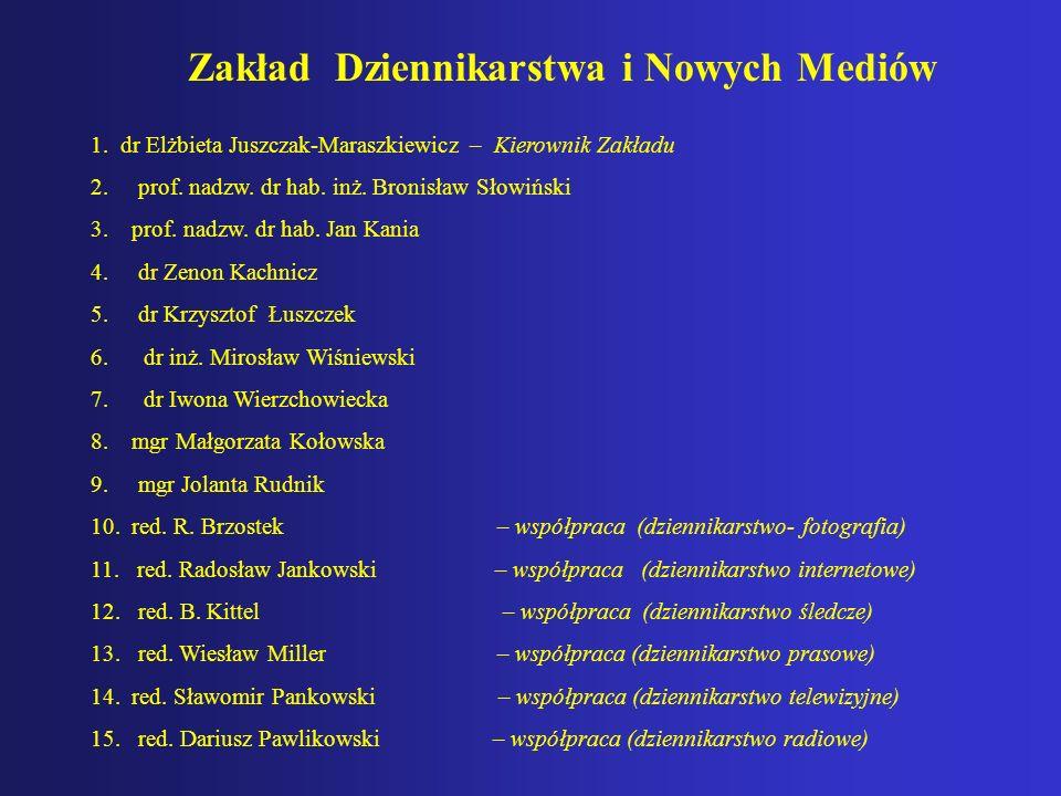 Zakład Dziennikarstwa i Nowych Mediów 1. dr Elżbieta Juszczak-Maraszkiewicz – Kierownik Zakładu 2. prof. nadzw. dr hab. inż. Bronisław Słowiński 3. pr