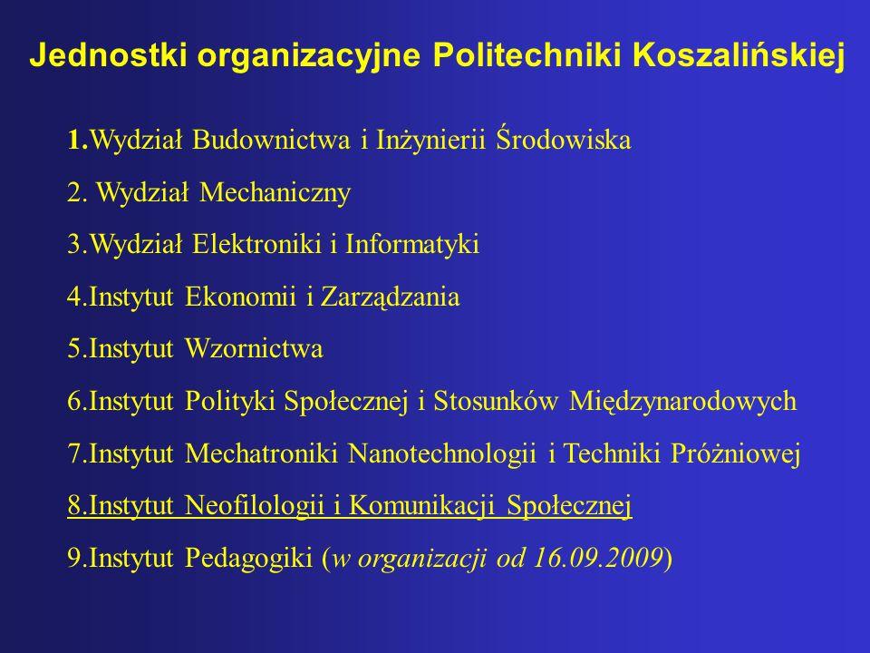 Jednostki organizacyjne Politechniki Koszalińskiej 1.Wydział Budownictwa i Inżynierii Środowiska 2. Wydział Mechaniczny 3.Wydział Elektroniki i Inform