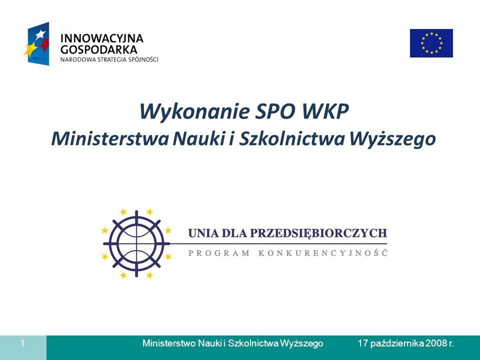 Ministerstwo Nauki i Szkolnictwa Wyższego Liczba zrealizowanych płatności w działaniu 1.4 SPO-WKP 12 17 października 2008 r.
