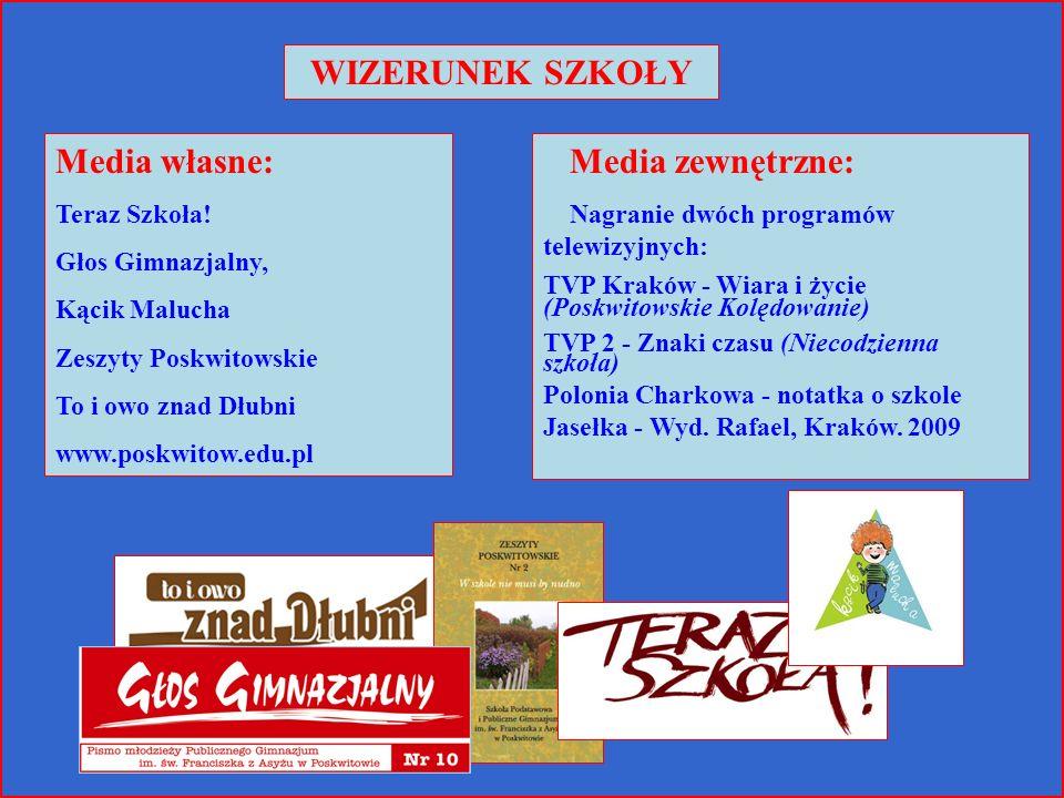 WIZERUNEK SZKOŁY Media zewnętrzne: Nagranie dwóch programów telewizyjnych: TVP Kraków - Wiara i życie (Poskwitowskie Kolędowanie) TVP 2 - Znaki czasu