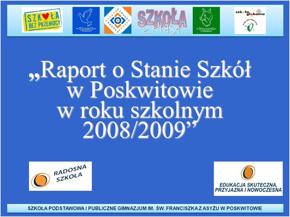 SZKOŁA PODSTAWOWA I PUBLICZNE GIMNAZJUM IM. ŚW. FRANCISZKA Z ASYŻU W POSKWITOWIE Raport o Stanie Szkół w Poskwitowie w roku szkolnym 2008/2009Raport o
