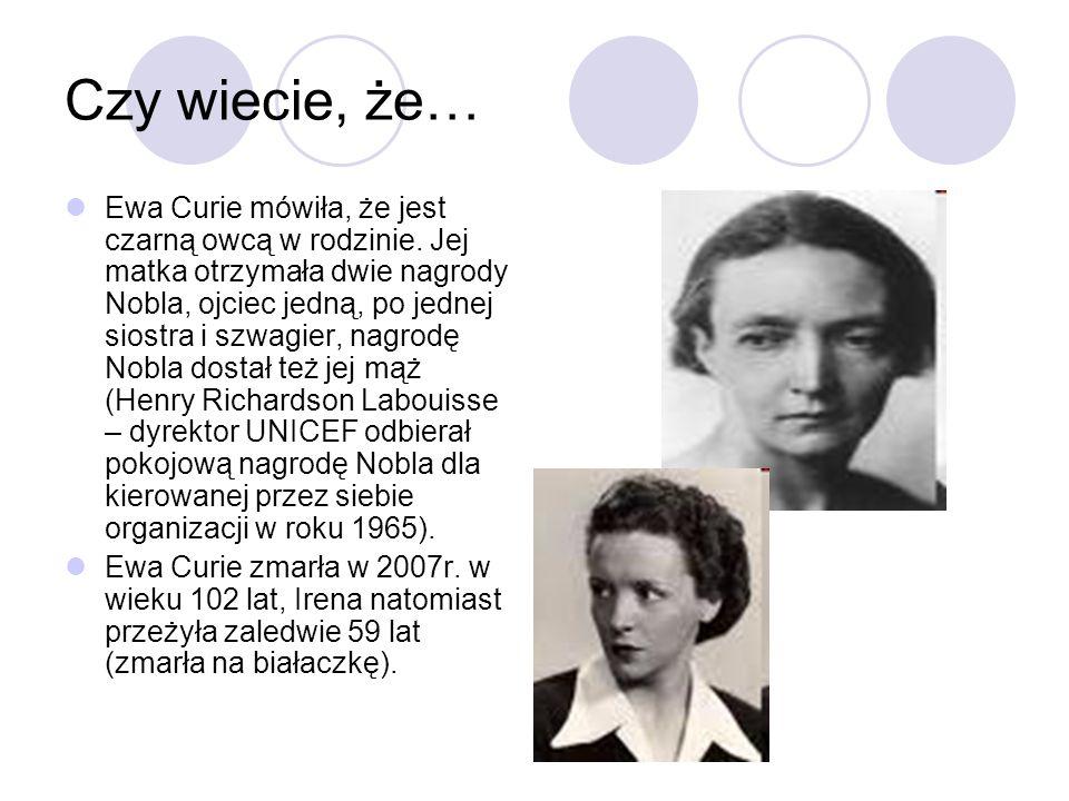Czy wiecie, że… Ewa Curie mówiła, że jest czarną owcą w rodzinie. Jej matka otrzymała dwie nagrody Nobla, ojciec jedną, po jednej siostra i szwagier,