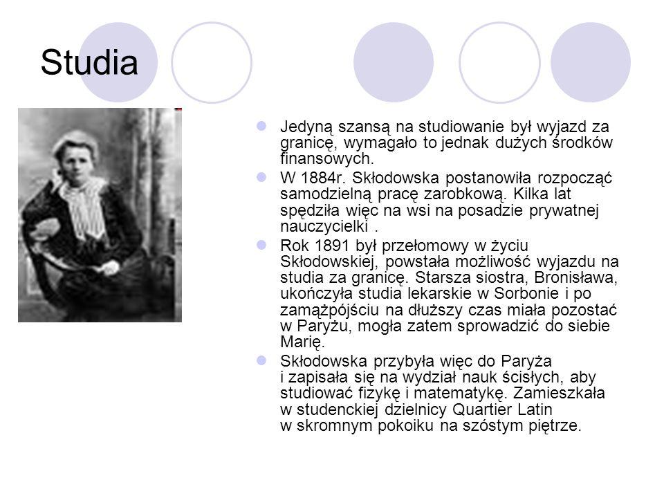 Studia Już w roku 1893 uzyskała tzw.licencjat nauk fizycznych.