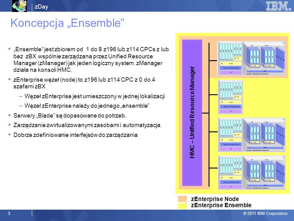 zDay © 2011 IBM Corporation 3 Koncepcja Ensemble HMC – Unified Resource Manager zEnterprise Node zEnterprise Ensemble Ensemble jest zbiorem od 1 do 8 z196 lub z114 CPCs z lub bez zBX wspólnie zarządzana przez Unified Resource Manager (zManager) jak jeden logiczny system.