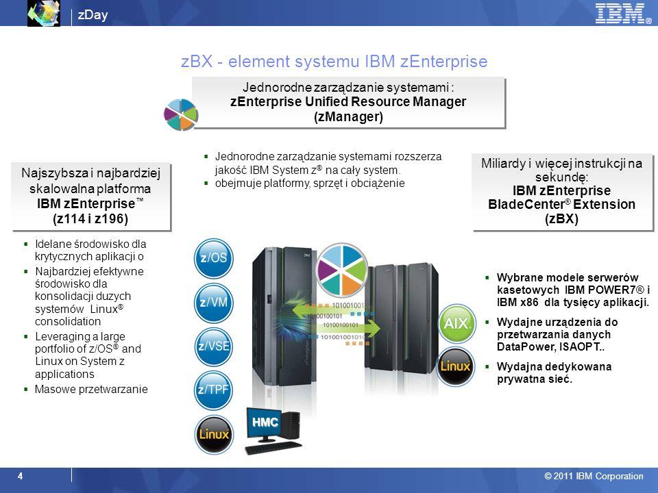 zDay © 2011 IBM Corporation 4 zBX - element systemu IBM zEnterprise Jednorodne zarządzanie systemami rozszerza jakość IBM System z ® na cały system.