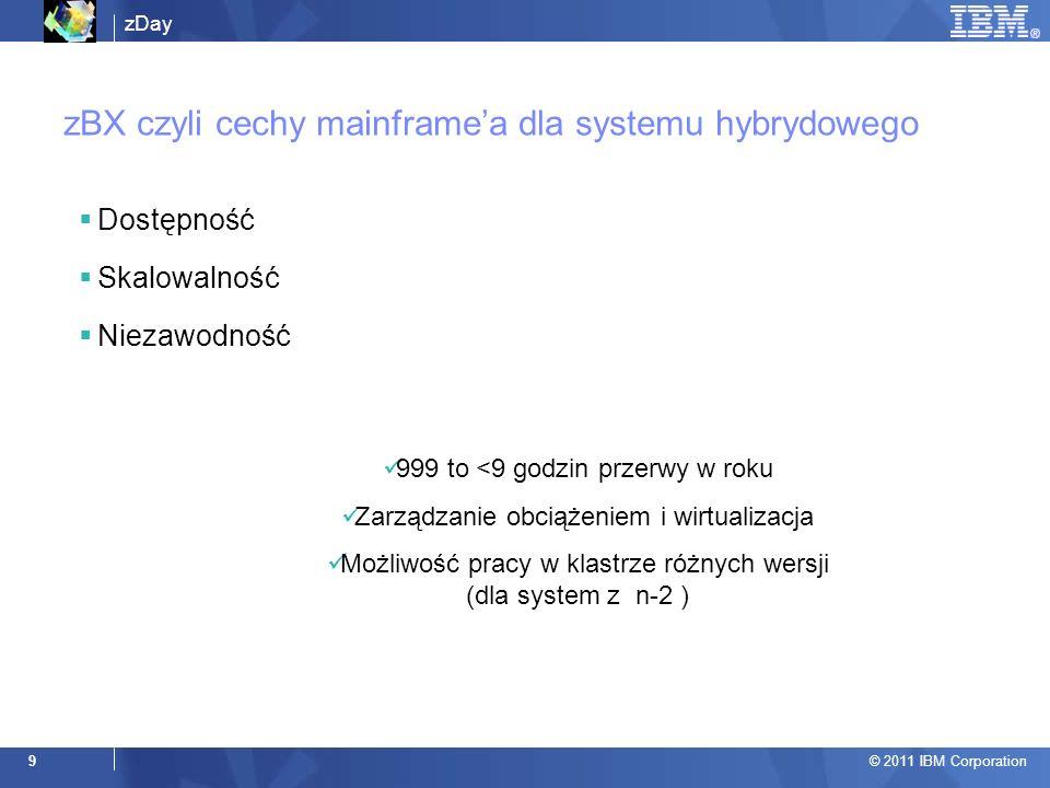 zDay © 2011 IBM Corporation 9 zBX czyli cechy mainframea dla systemu hybrydowego Dostępność Skalowalność Niezawodność 999 to <9 godzin przerwy w roku Zarządzanie obciążeniem i wirtualizacja Możliwość pracy w klastrze różnych wersji (dla system z n-2 )