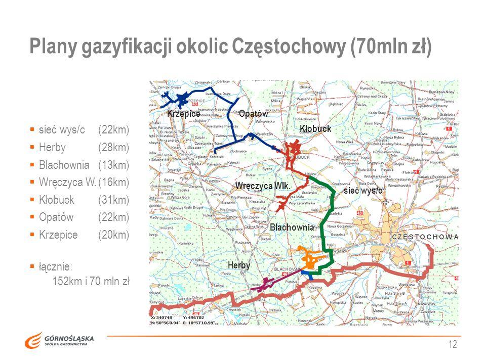 Plany gazyfikacji okolic Częstochowy (70mln zł) 12 Kłobuck Wręczyca Wlk. OpatówKrzepice Herby Blachownia sieć wys/c sieć wys/c(22km) Herby(28km) Blach
