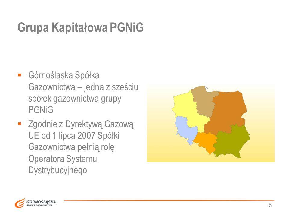 5 Grupa Kapitałowa PGNiG Górnośląska Spółka Gazownictwa – jedna z sześciu spółek gazownictwa grupy PGNiG Zgodnie z Dyrektywą Gazową UE od 1 lipca 2007