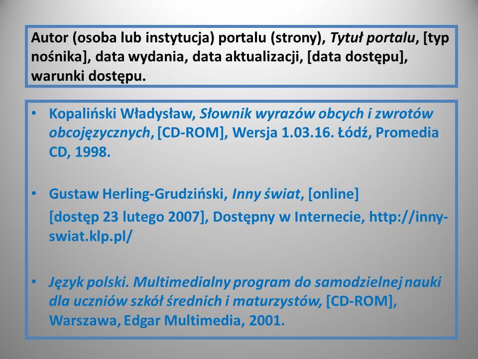 Autor (osoba lub instytucja) portalu (strony), Tytuł portalu, [typ nośnika], data wydania, data aktualizacji, [data dostępu], warunki dostępu. Kopaliń