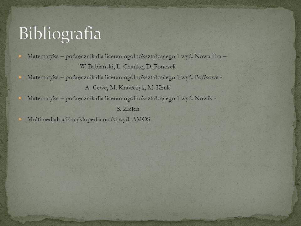Matematyka – podręcznik dla liceum ogólnokształcącego 1 wyd. Nowa Era – W. Babiański, L. Chańko, D. Ponczek Matematyka – podręcznik dla liceum ogólnok