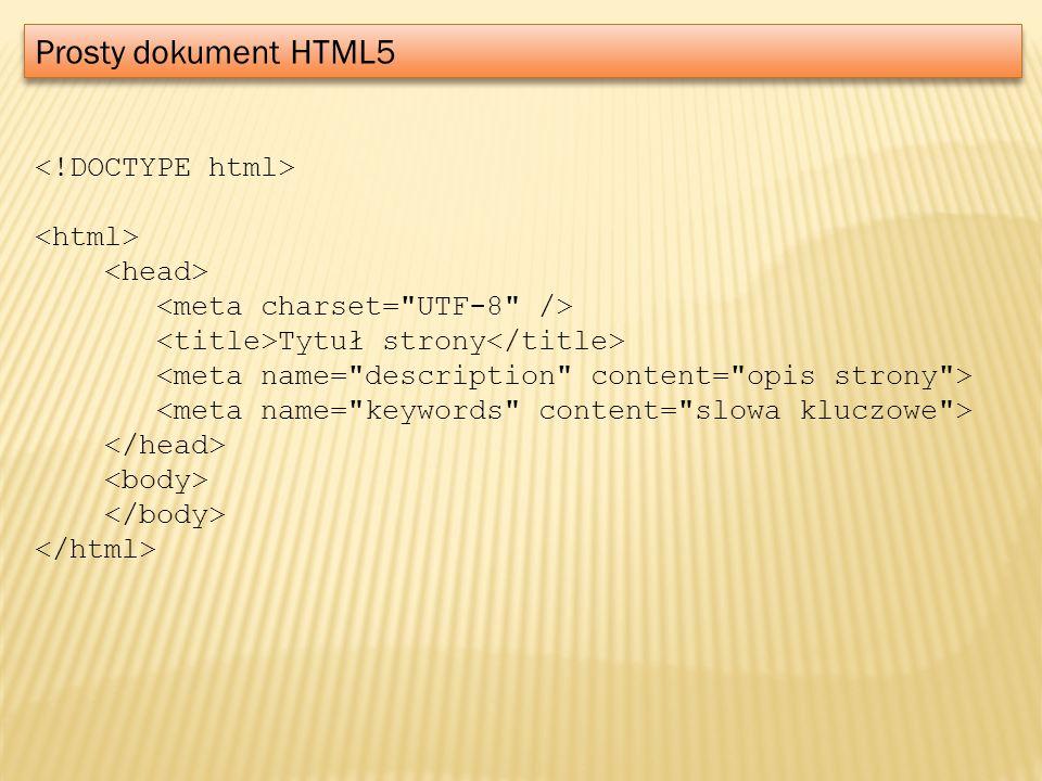 Prosty dokument HTML5 Tytuł strony