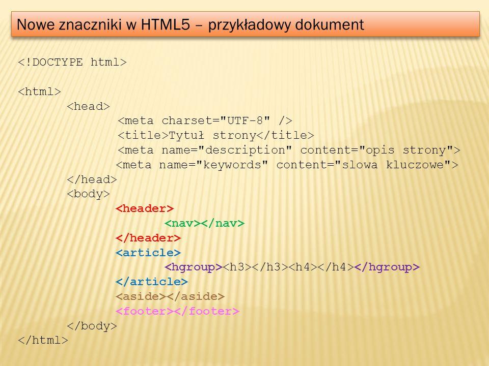 Nowe znaczniki w HTML5 – przykładowy dokument Tytuł strony