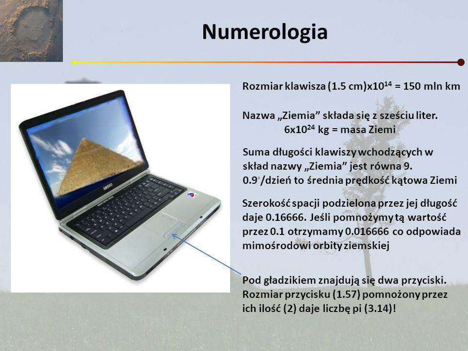 Numerologia Rozmiar klawisza (1.5 cm)x10 14 = 150 mln km Nazwa Ziemia składa się z sześciu liter. 6x10 24 kg = masa Ziemi Suma długości klawiszy wchod