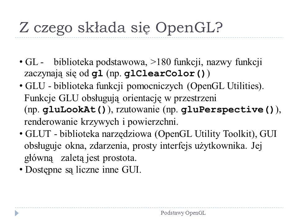 Z czego składa się OpenGL? Podstawy OpenGL GL - biblioteka podstawowa, >180 funkcji, nazwy funkcji zaczynają się od gl (np. glClearColor() ) GLU - bib
