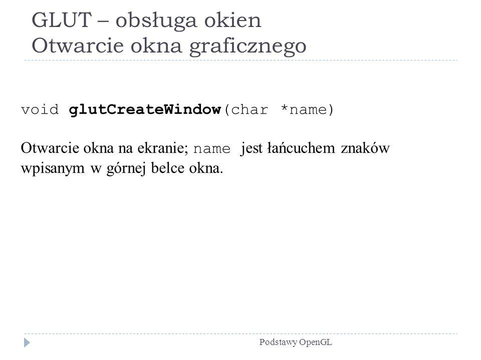 GLUT – obsługa okien Otwarcie okna graficznego Podstawy OpenGL void glutCreateWindow(char *name) Otwarcie okna na ekranie; name jest łańcuchem znaków
