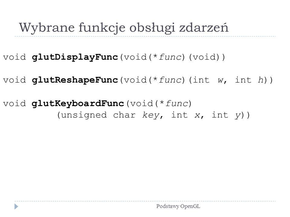 Wybrane funkcje obsługi zdarzeń Podstawy OpenGL void glutDisplayFunc(void(*func)(void)) void glutReshapeFunc(void(*func)(int w, int h)) void glutKeybo