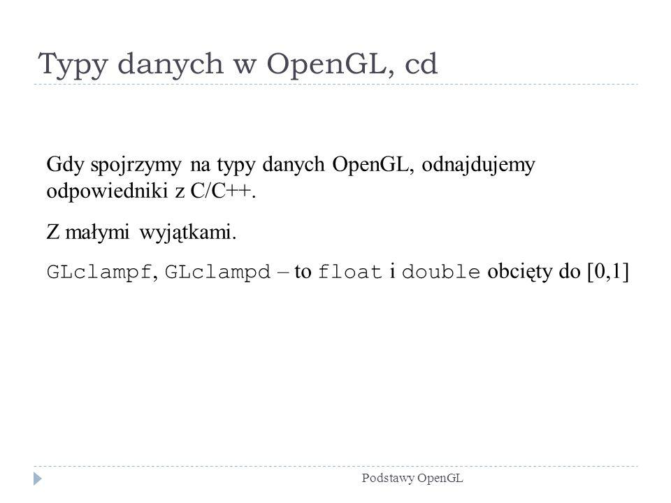 Typy danych w OpenGL, cd Podstawy OpenGL Gdy spojrzymy na typy danych OpenGL, odnajdujemy odpowiedniki z C/C++. Z małymi wyjątkami. GLclampf, GLclampd