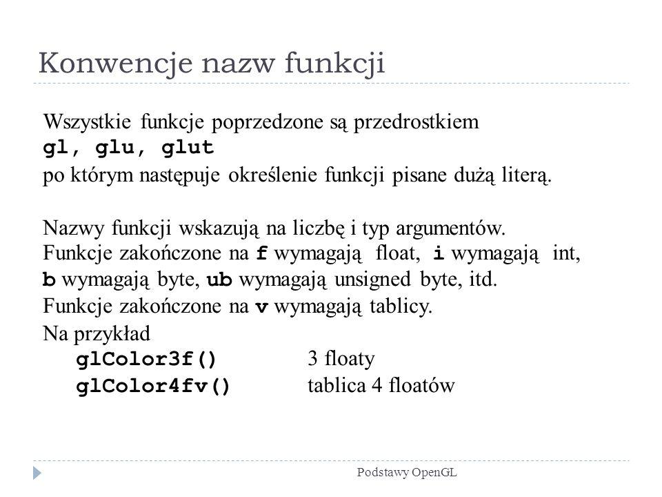 Konwencje nazw funkcji Podstawy OpenGL Wszystkie funkcje poprzedzone są przedrostkiem gl, glu, glut po którym następuje określenie funkcji pisane dużą