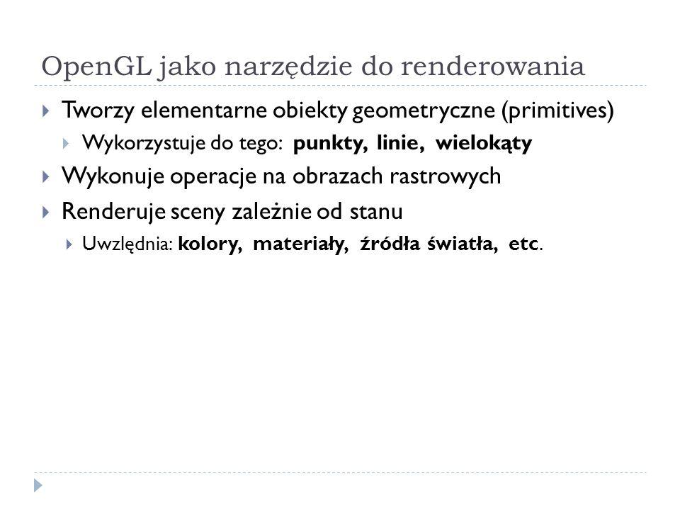 OpenGL jako narzędzie do renderowania Tworzy elementarne obiekty geometryczne (primitives) Wykorzystuje do tego: punkty, linie, wielokąty Wykonuje ope