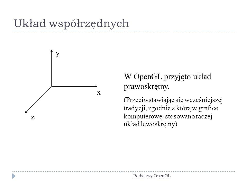 Układ współrzędnych Podstawy OpenGL y x z W OpenGL przyjęto układ prawoskrętny. (Przeciwstawiając się wcześniejszej tradycji, zgodnie z którą w grafic