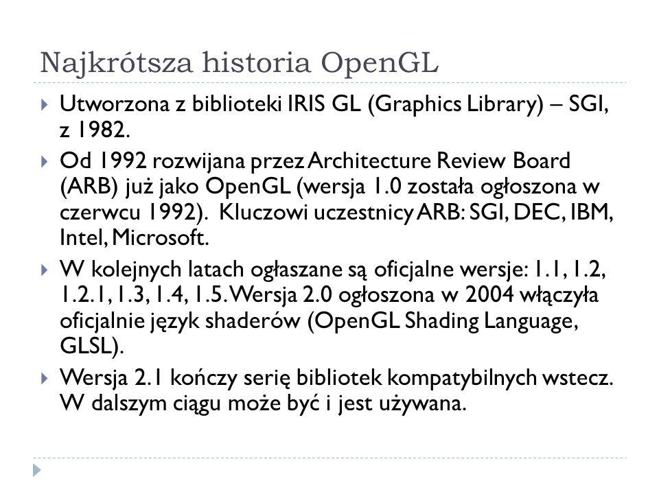 Typy danych w OpenGL Podstawy OpenGL SuffixData typeC typeOpenGL type b8-bit integersigned char GLbyte s16-bit integershort GLshort i32-bit integerint/long GLint, GLsizei f32-bit floating pointfloat GLfloat, GLclampf d64-bit floating pointdouble GLdouble, GLclampd ub8-bit unsigned integerunsigned char GLubyte, GLboolean us16-bit unsigned integerunsigned short GLushort ui32-bit unsigned integerunsigned int/long GLuint, GLenum, GLbitfield OpenGL wprowadził własne typy danych w celu zapewnienia przenośności programów.