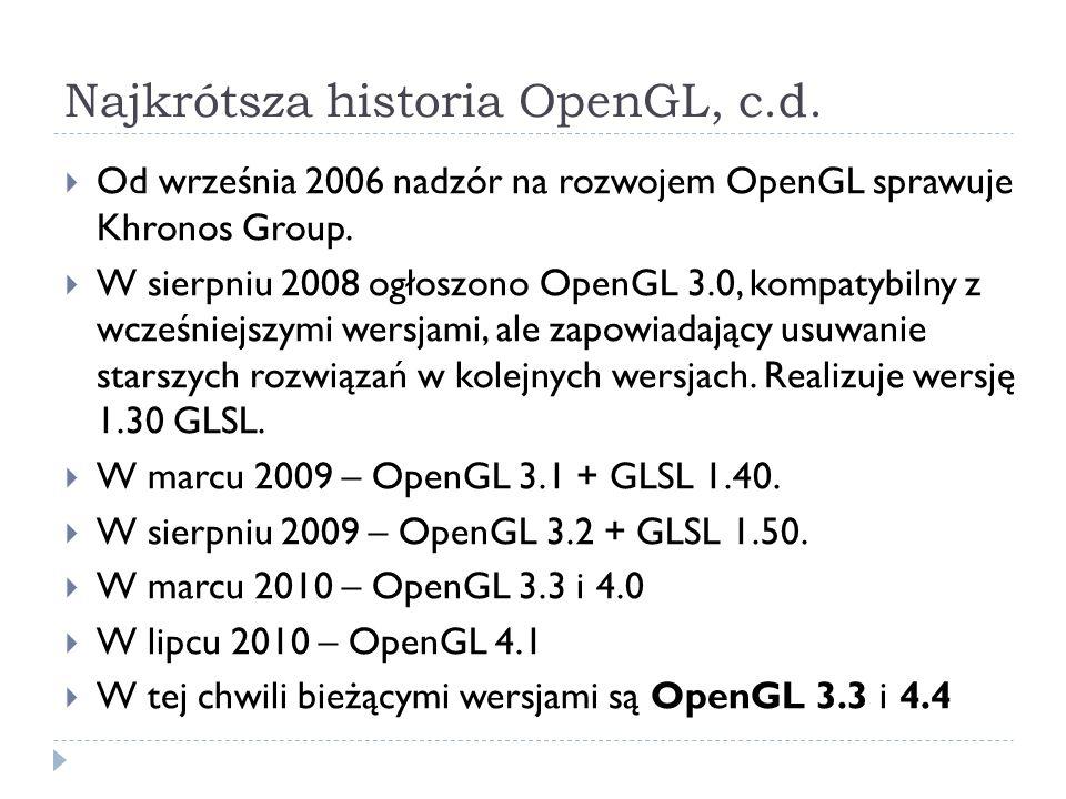 Najkrótsza historia OpenGL, c.d. Od września 2006 nadzór na rozwojem OpenGL sprawuje Khronos Group. W sierpniu 2008 ogłoszono OpenGL 3.0, kompatybilny