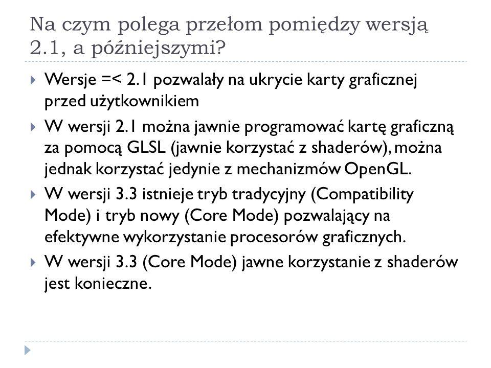 Podsumowanie Przygotowując program w OpenGL w wersji > 3.0, w rzeczywistości przygotowujemy DWA programy: pierwszy, opisany przy pomocy funkcji OpenGL realizowany na CPU (przygotowuje scenę, buduje obiekty) drugi opisany przez język shaderów GLSL, realizowany na GPU (dokonuje przekształceń obiektów i renderowania) W wersji 2.1 mamy możliwość wyboru: piszemy albo z shaderami, albo bez – przełączenie nie jest zbyt zgrabne.