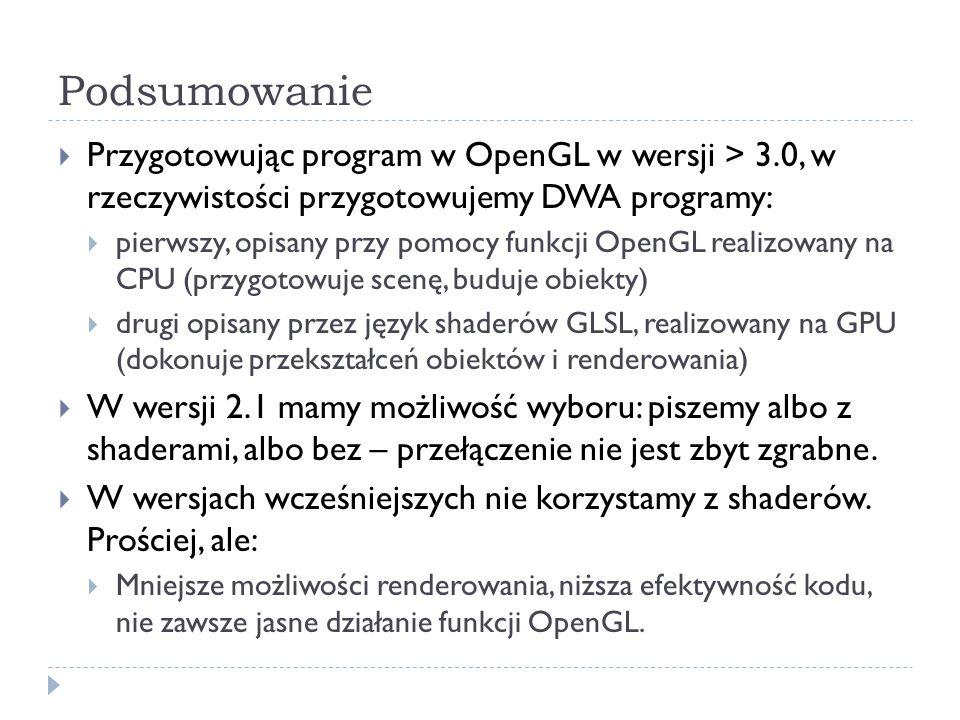 Podsumowanie Przygotowując program w OpenGL w wersji > 3.0, w rzeczywistości przygotowujemy DWA programy: pierwszy, opisany przy pomocy funkcji OpenGL