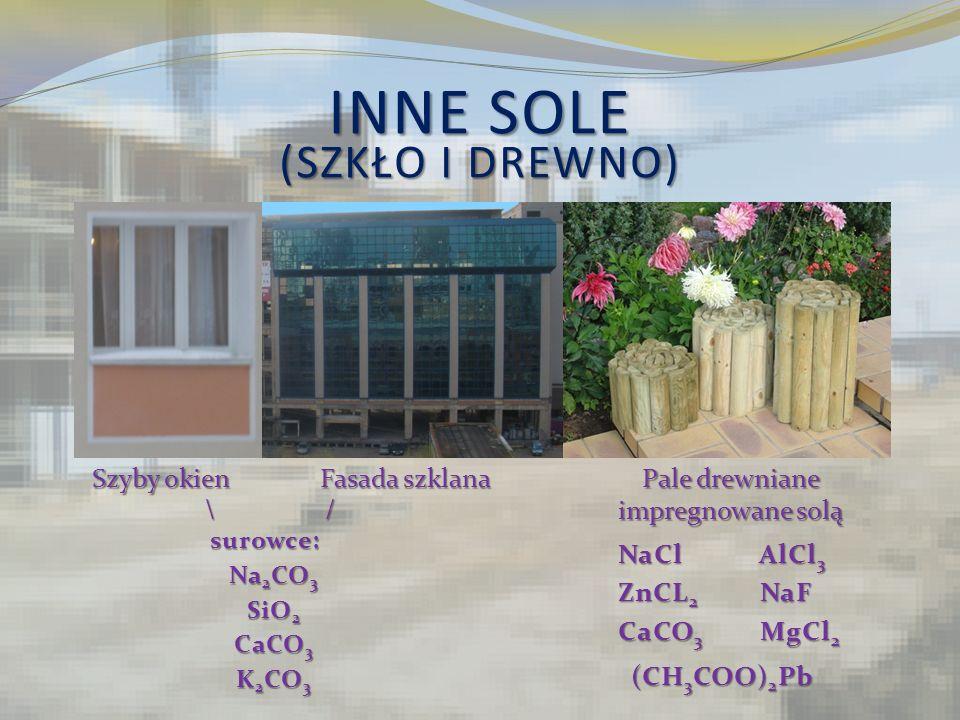 INNE SOLE (SZKŁO I DREWNO) Pale drewniane impregnowane solą Fasada szklana Szyby okien \ / surowce: surowce: Na 2 CO 3 SiO 2 CaCO 3 K 2 CO 3 NaCl AlCl
