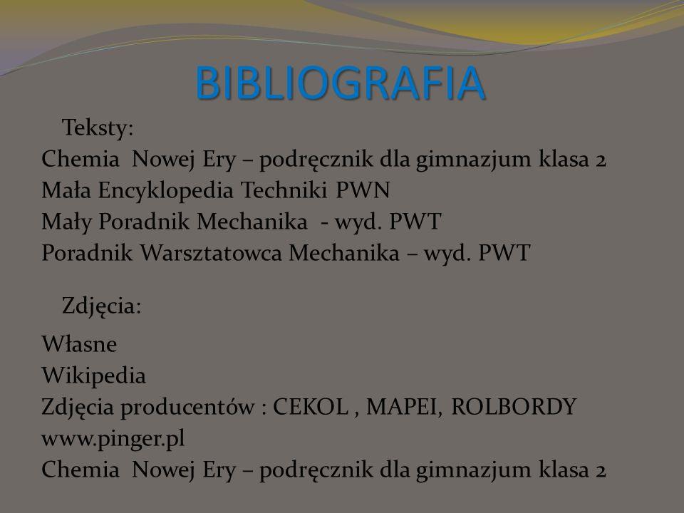 BIBLIOGRAFIA Teksty: Chemia Nowej Ery – podręcznik dla gimnazjum klasa 2 Mała Encyklopedia Techniki PWN Mały Poradnik Mechanika - wyd. PWT Poradnik Wa