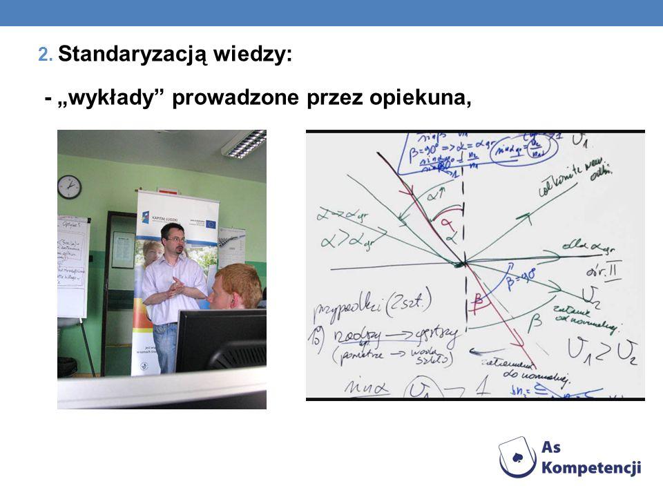 2. Standaryzacją wiedzy: - wykłady prowadzone przez opiekuna,
