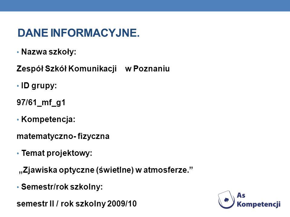 DANE INFORMACYJNE. Nazwa szkoły: Zespół Szkół Komunikacji w Poznaniu ID grupy: 97/61_mf_g1 Kompetencja: matematyczno- fizyczna Temat projektowy: Zjawi