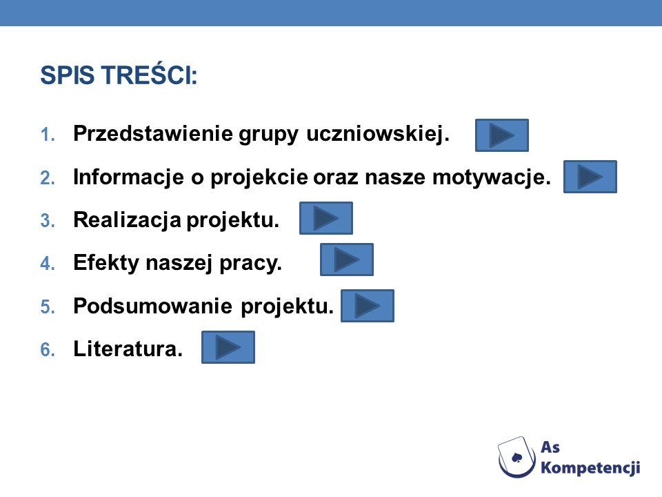 SPIS TREŚCI: 1. Przedstawienie grupy uczniowskiej. 2. Informacje o projekcie oraz nasze motywacje. 3. Realizacja projektu. 4. Efekty naszej pracy. 5.