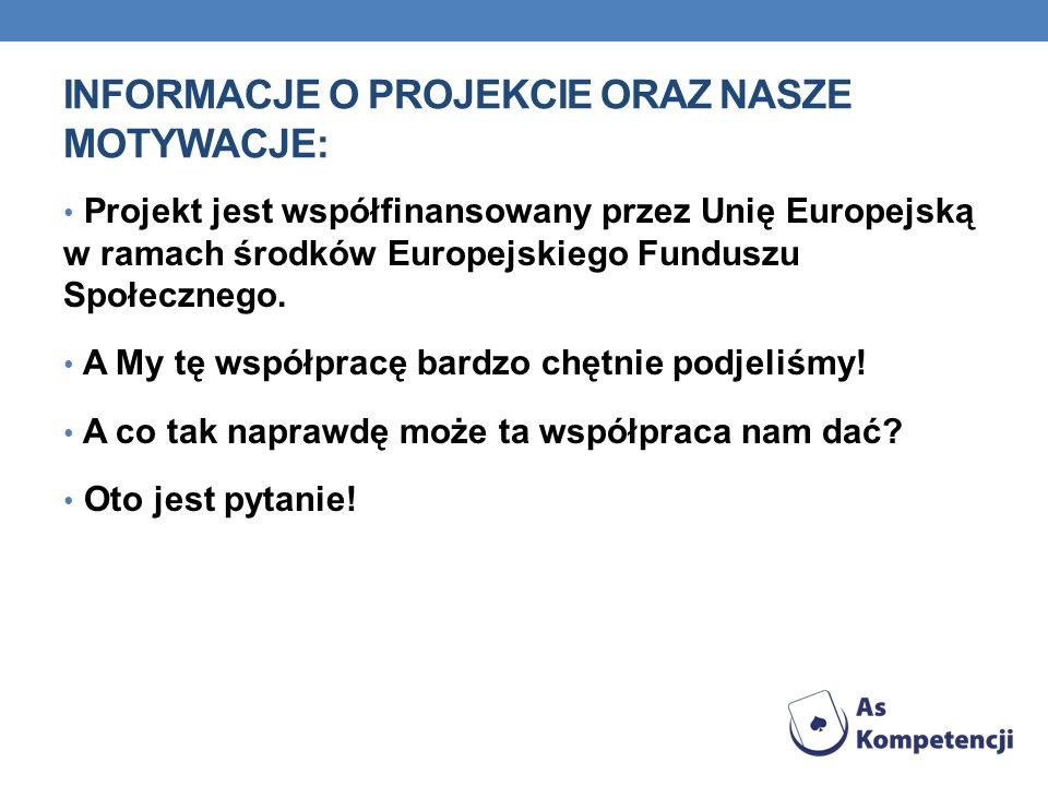 INFORMACJE O PROJEKCIE ORAZ NASZE MOTYWACJE: Projekt jest współfinansowany przez Unię Europejską w ramach środków Europejskiego Funduszu Społecznego.
