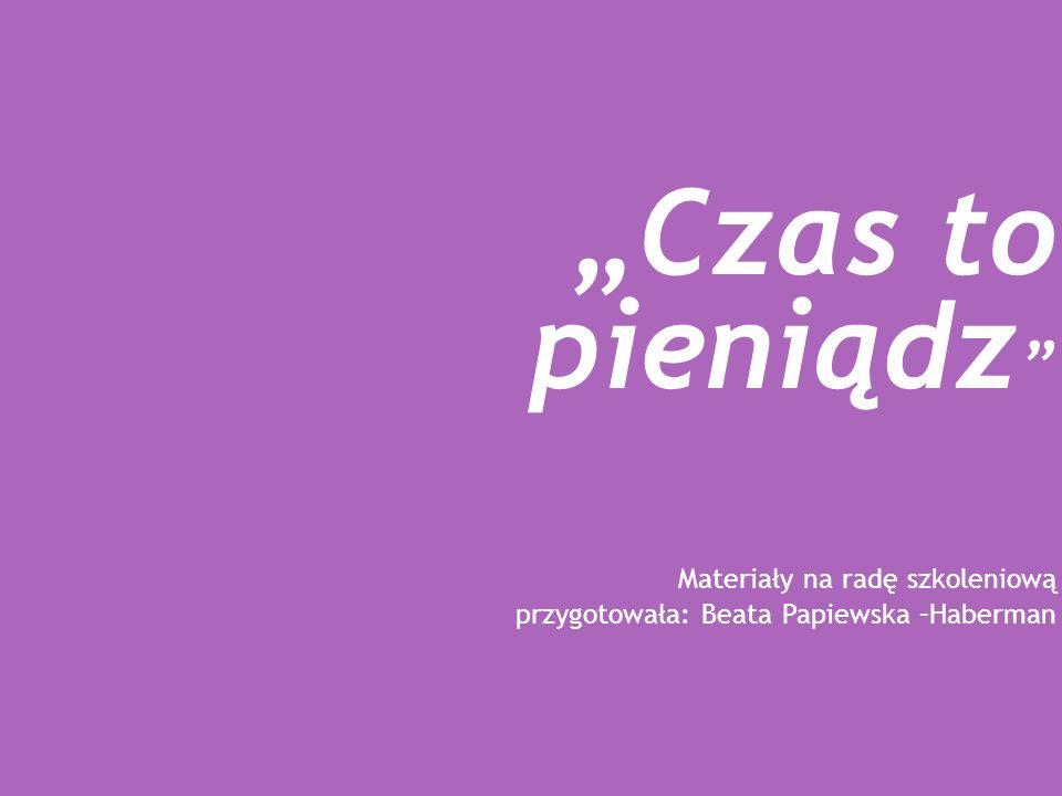 Czas to pieniądz Materiały na radę szkoleniową przygotowała: Beata Papiewska –Haberman