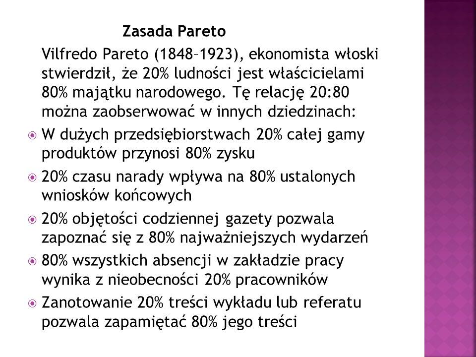 Zasada Pareto Vilfredo Pareto (1848–1923), ekonomista włoski stwierdził, że 20% ludności jest właścicielami 80% majątku narodowego. Tę relację 20:80 m