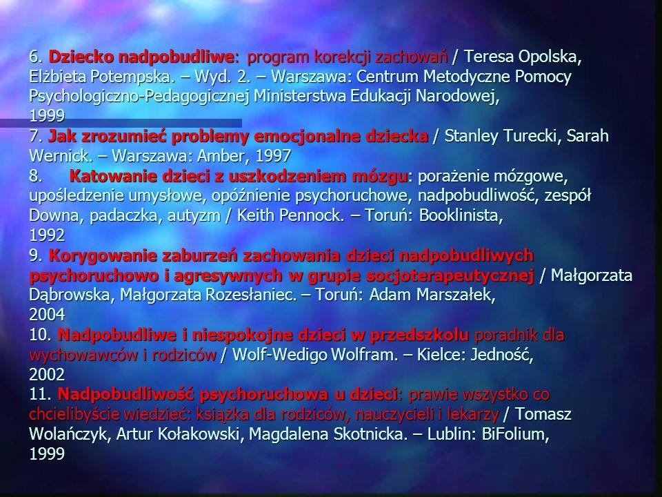 6. Dziecko nadpobudliwe: program korekcji zachowań / Teresa Opolska, Elżbieta Potempska. – Wyd. 2. – Warszawa: Centrum Metodyczne Pomocy Psychologiczn
