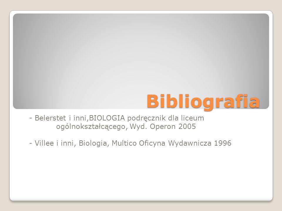 Bibliografia - Belerstet i inni,BIOLOGIA podręcznik dla liceum ogólnokształcącego, Wyd. Operon 2005 - Villee i inni, Biologia, Multico Oficyna Wydawni