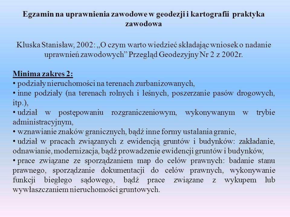 Egzamin na uprawnienia zawodowe w geodezji i kartografii praktyka zawodowa Kluska Stanisław, 2002: O czym warto wiedzieć składając wniosek o nadanie u