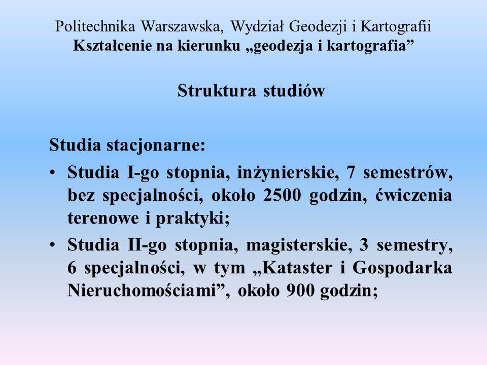 Politechnika Warszawska, Wydział Geodezji i Kartografii Kształcenie na kierunku geodezja i kartografia Struktura studiów Studia stacjonarne: Studia I-
