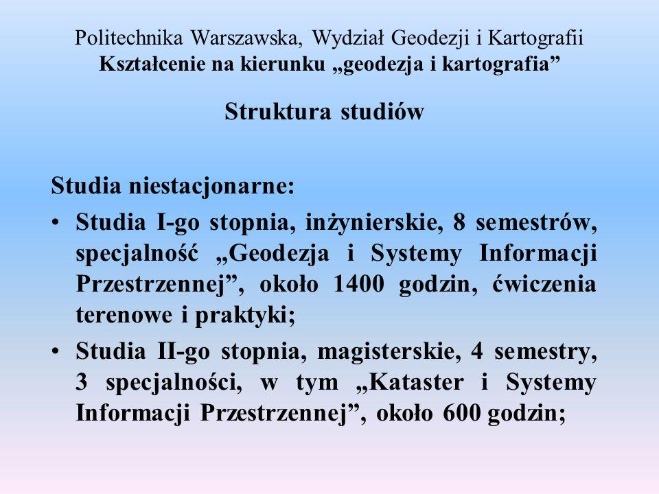 Politechnika Warszawska, Wydział Geodezji i Kartografii Kształcenie na kierunku geodezja i kartografia Struktura studiów Studia niestacjonarne: Studia